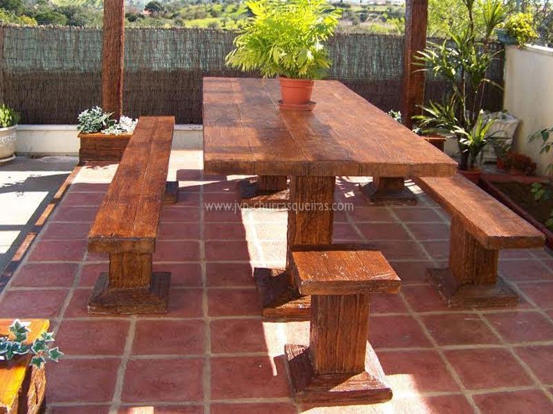 Mesas de Jardim, Mesa 105, Mesas, merendas, bancos, Mesas de betão imitar madeira, mesas para parques de merendas, mesas em tijolos, mesas cimento, jardim